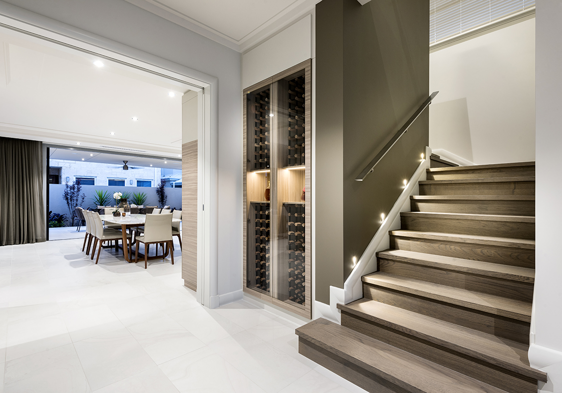 Staircase with Wine Collection - Swanbourne