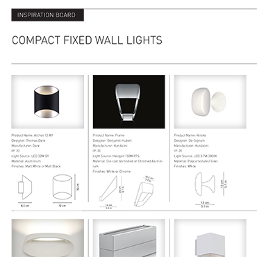 Compact Fixed Wall Lights