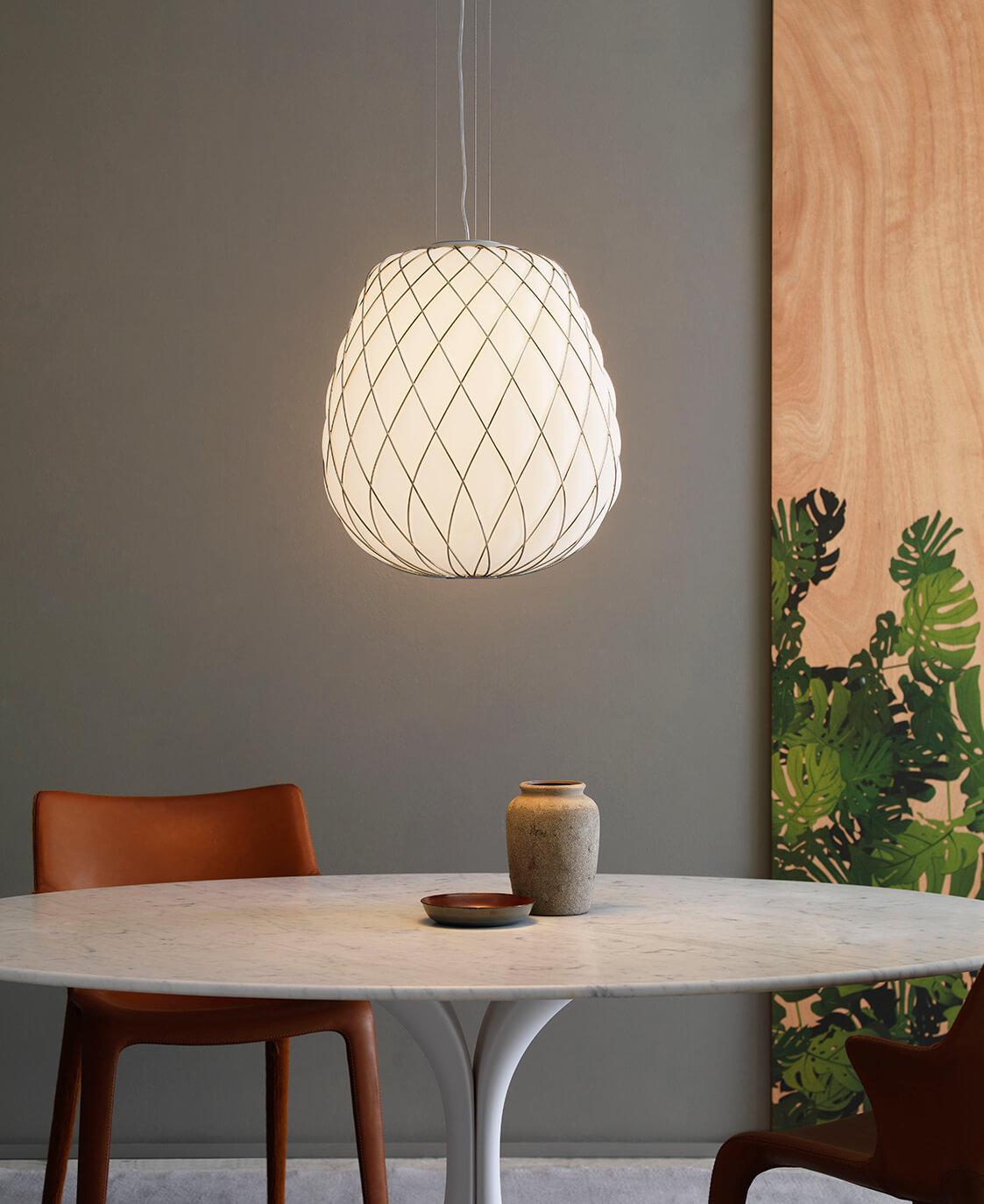 Radiant lighting pinecone suspension pinecone for Pinecone fontana